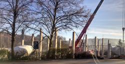Abbruch des baufälligen Gasthaus Steigerwald und Baubeginn des neuen Getränkemarktes und Lagerhallen an gleicher Stelle